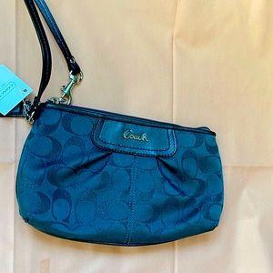 NWT coach signature gray wristlet purse wallet